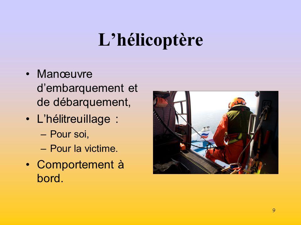9 Lhélicoptère Manœuvre dembarquement et de débarquement, Lhélitreuillage : –Pour soi, –Pour la victime.