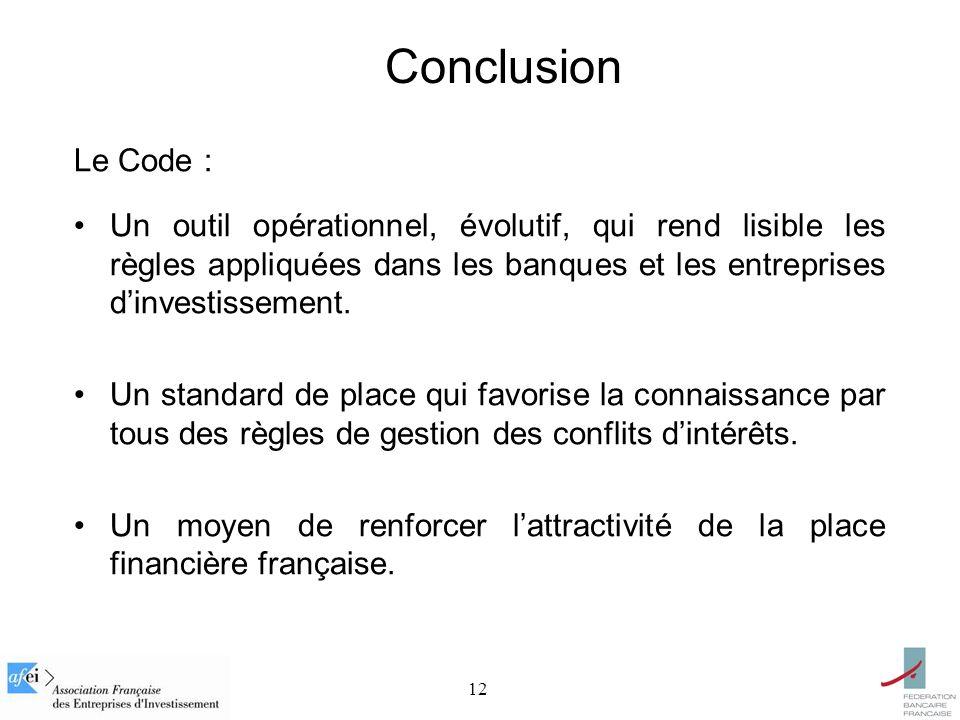 12 Conclusion Le Code : Un outil opérationnel, évolutif, qui rend lisible les règles appliquées dans les banques et les entreprises dinvestissement.