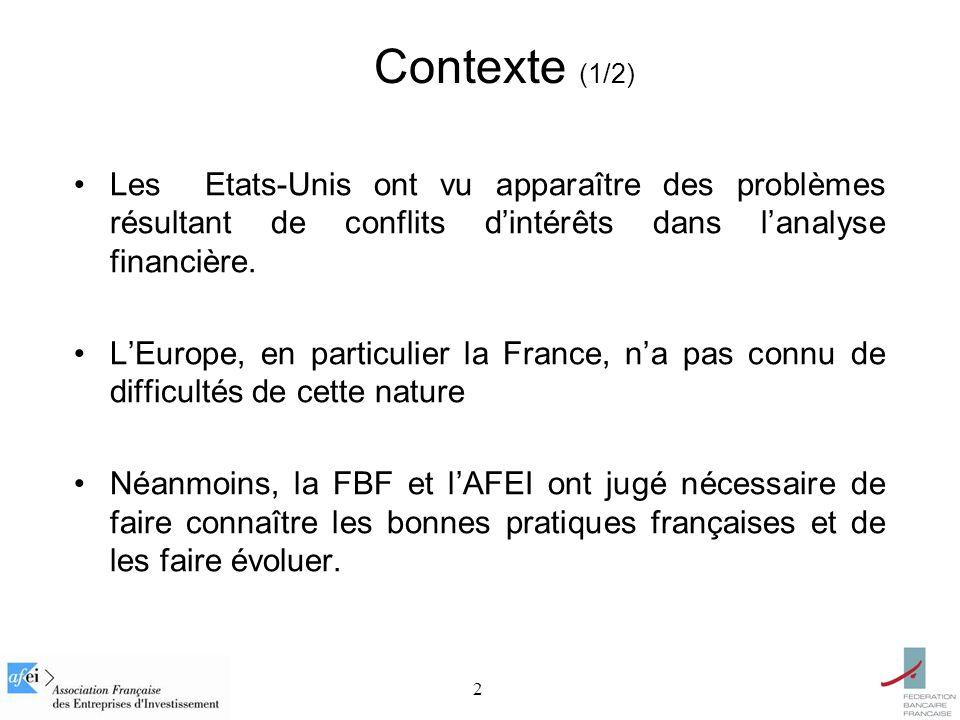 2 Contexte (1/2) Les Etats-Unis ont vu apparaître des problèmes résultant de conflits dintérêts dans lanalyse financière. LEurope, en particulier la F