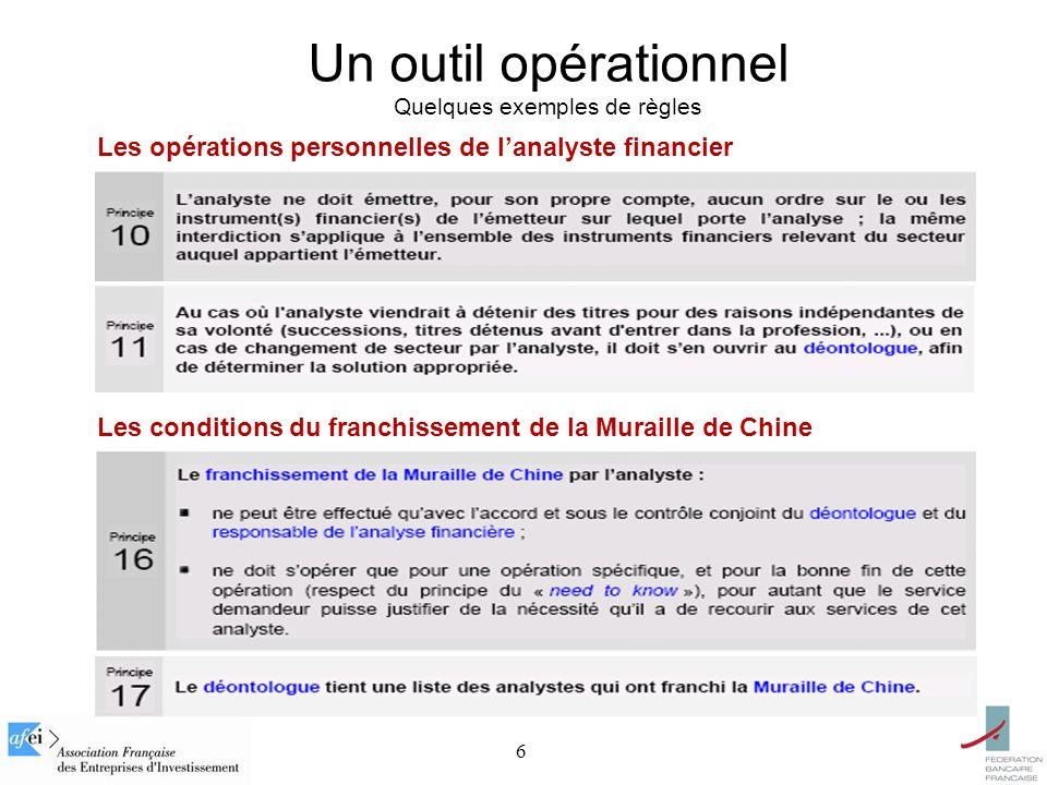 6 Un outil opérationnel Quelques exemples de règles Les opérations personnelles de lanalyste financier Les conditions du franchissement de la Muraille de Chine