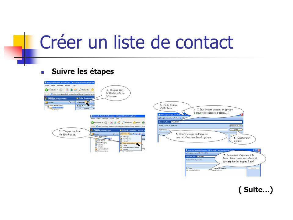 Créer un liste de contact Suivre les étapes ( Suite…)