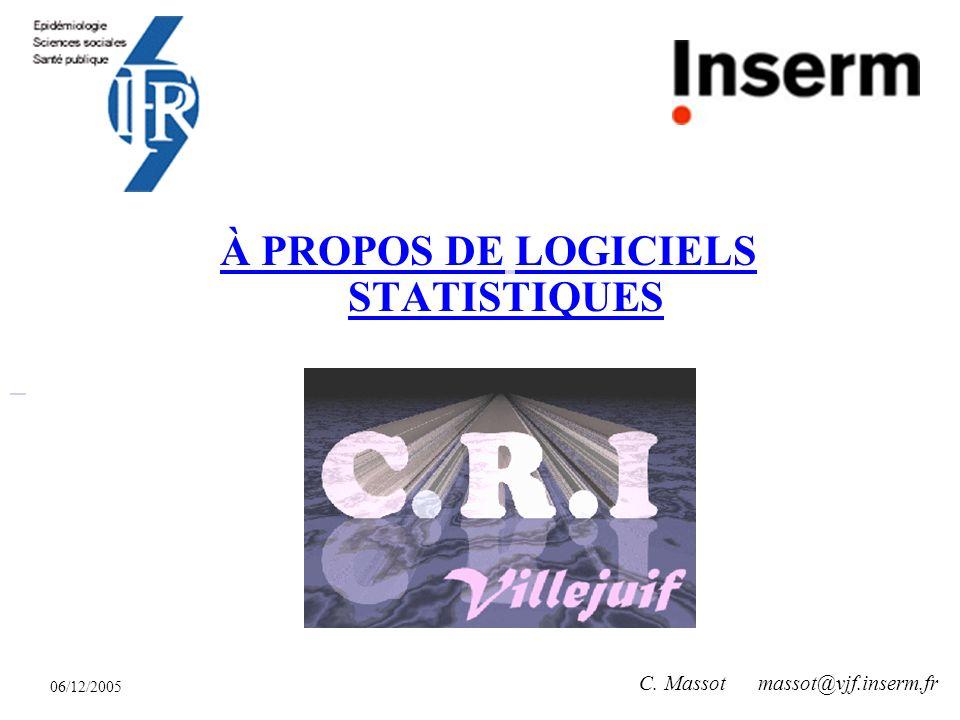 06/12/2005 C. Massot massot@vjf.inserm.fr À PROPOS DE LOGICIELS STATISTIQUES