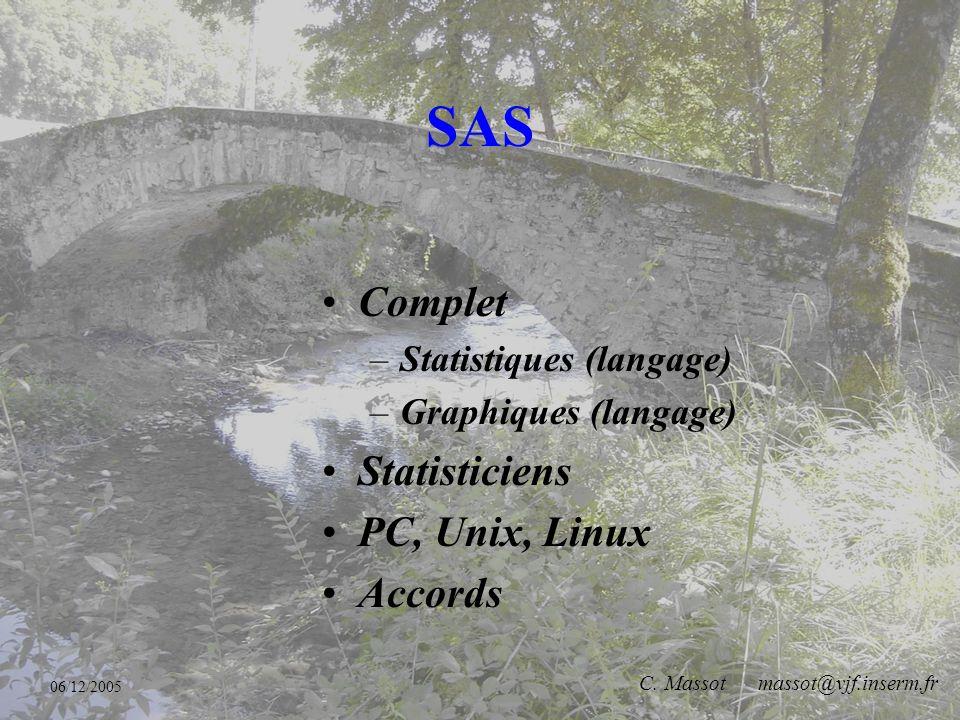 06/12/2005 C. Massot massot@vjf.inserm.fr R Gratuit Clone de S+ Spécialistes PC, Unix