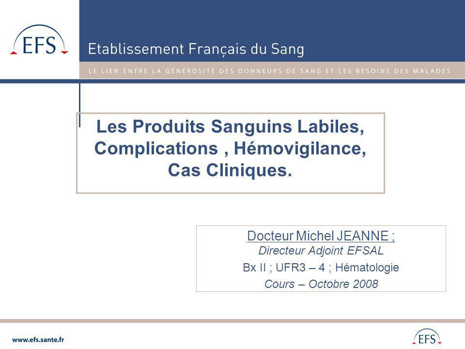 Circulaire n°98 231 du 9 avril 1998 Relative à linformation des malades Circulaire DGS/DHOS/AFSSAPS n°581 du 15 décembre 2003 relative aux recommandations concernant la conduite à tenir en cas de suspicion dincident transfusionnel par contamination bactérienne Circulaire DGS/DHOS/AFSSAPS N° 03/582 du 15 décembre 2003 relative à la réalisation de lacte transfusionnel Arrêté du 19 juillet 2005 modifiant larrêté du 29 avril 2003 Fixant la liste et les caractéristiques des produits sanguins labiles (T°de conservation des CGR + 4°C ± 2°) Circulaire N° DGS/DHOS/SD3/2006/11 du 11 janvier 2006 abrogeant la circulaire DGS/DH n° 609 du 1er octobre 1996 relative aux analyses et tests pratiqués sur des receveurs de produits sanguins labiles.