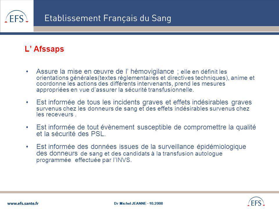 L Afssaps Assure la mise en œuvre de l hémovigilance ; elle en définit les orientations générales(textes règlementaires et directives techniques), ani