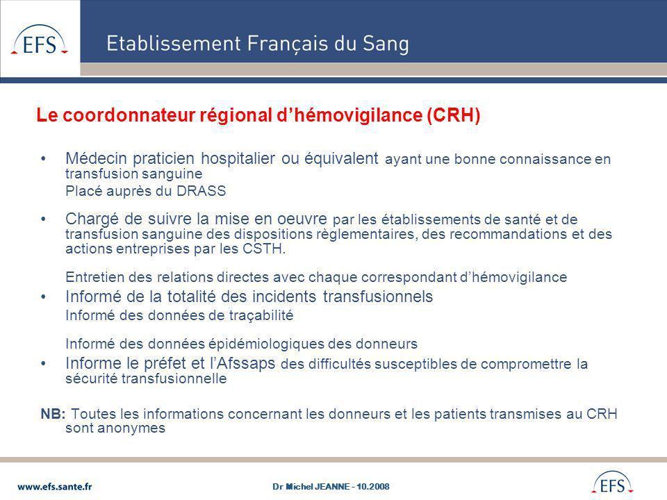 Le coordonnateur régional dhémovigilance (CRH) Médecin praticien hospitalier ou équivalent ayant une bonne connaissance en transfusion sanguine Placé
