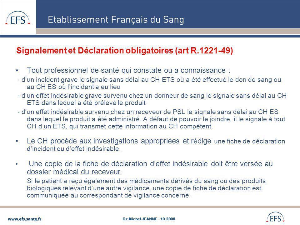 Signalement et Déclaration obligatoires (art R.1221-49) Tout professionnel de santé qui constate ou a connaissance : - dun incident grave le signale s