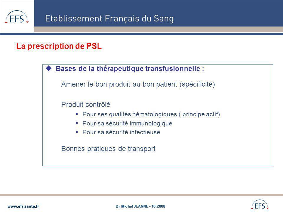 Bases de la thérapeutique transfusionnelle : Amener le bon produit au bon patient (spécificité) Produit contrôlé Pour ses qualités hématologiques ( pr