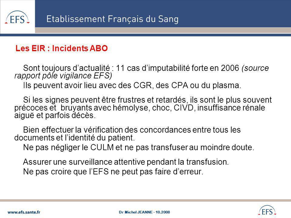 Sont toujours dactualité : 11 cas dimputabilité forte en 2006 (source rapport pôle vigilance EFS) Ils peuvent avoir lieu avec des CGR, des CPA ou du p