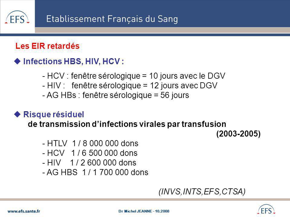 Infections HBS, HIV, HCV : - HCV : fenêtre sérologique = 10 jours avec le DGV - HIV : fenêtre sérologique = 12 jours avec DGV - AG HBs : fenêtre sérol