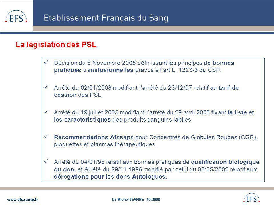Décision du 6 Novembre 2006 définissant les principes de bonnes pratiques transfusionnelles prévus à lart L. 1223-3 du CSP. Arrêté du 02/01/2008 modif
