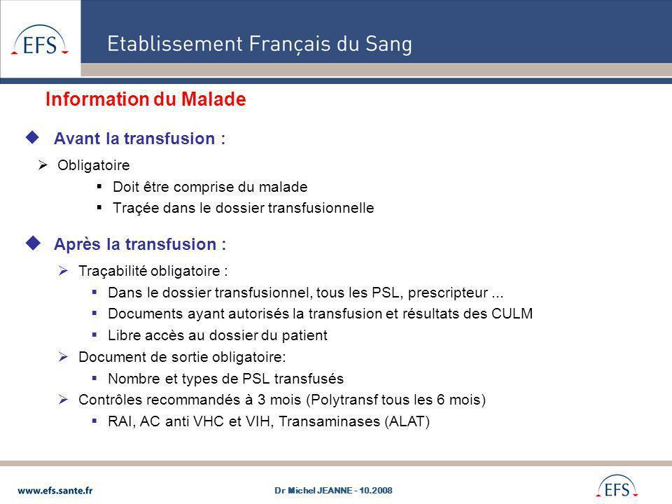 Information du Malade Avant la transfusion : Obligatoire Doit être comprise du malade Traçée dans le dossier transfusionnelle Après la transfusion : T