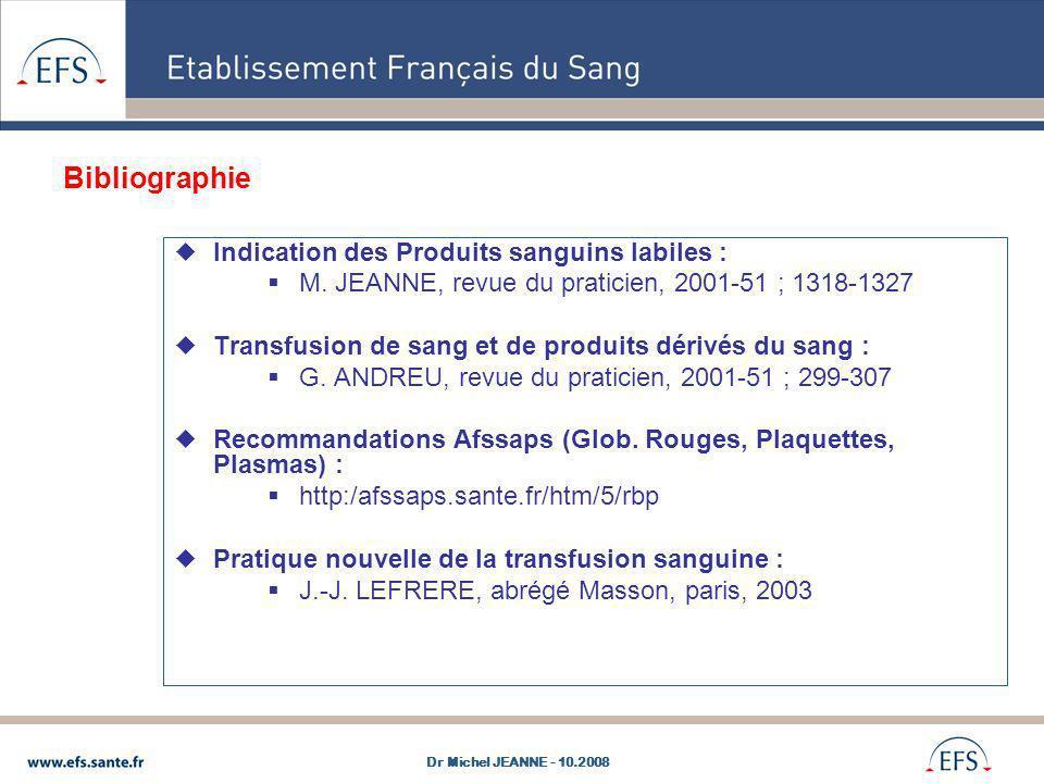 Bibliographie Indication des Produits sanguins labiles : M. JEANNE, revue du praticien, 2001-51 ; 1318-1327 Transfusion de sang et de produits dérivés