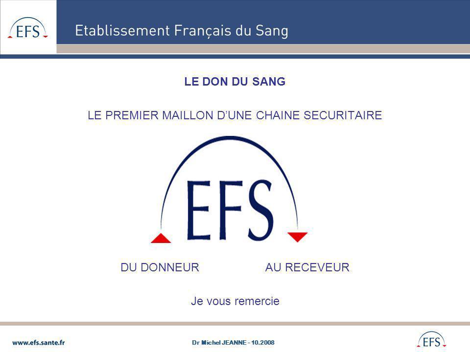 LE DON DU SANG LE PREMIER MAILLON DUNE CHAINE SECURITAIRE DU DONNEUR AU RECEVEUR Je vous remercie Dr Michel JEANNE - 10.2008