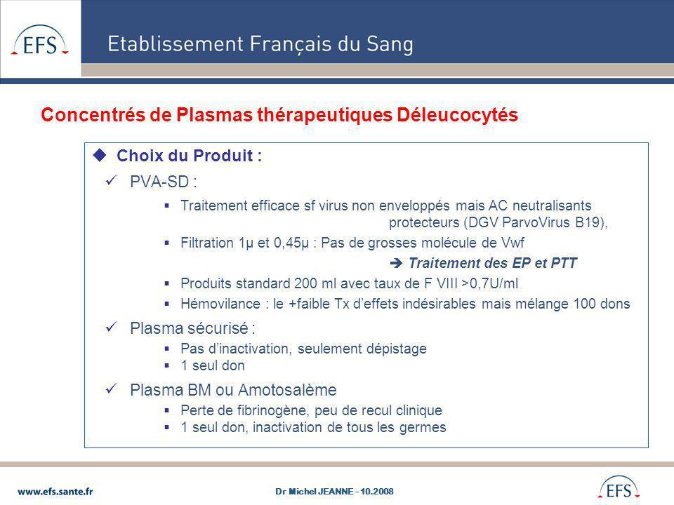 Concentrés de Plasmas thérapeutiques Déleucocytés Choix du Produit : PVA-SD : Traitement efficace sf virus non enveloppés mais AC neutralisants protec