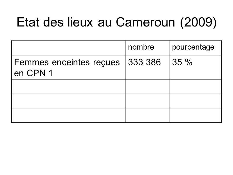 Etat des lieux au Cameroun (2009) nombrepourcentage Femmes enceintes reçues en CPN 1 333 38635 %