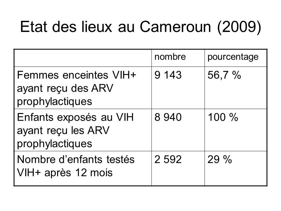 Etat des lieux au Cameroun (2009) nombrepourcentage Femmes enceintes VIH+ ayant reçu des ARV prophylactiques 9 14356,7 % Enfants exposés au VIH ayant reçu les ARV prophylactiques 8 940100 % Nombre denfants testés VIH+ après 12 mois 2 59229 %