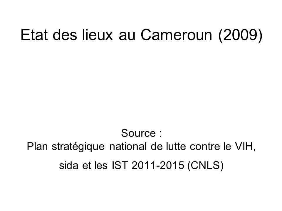 Etat des lieux au Cameroun (2009) Source : Plan stratégique national de lutte contre le VIH, sida et les IST 2011-2015 (CNLS)