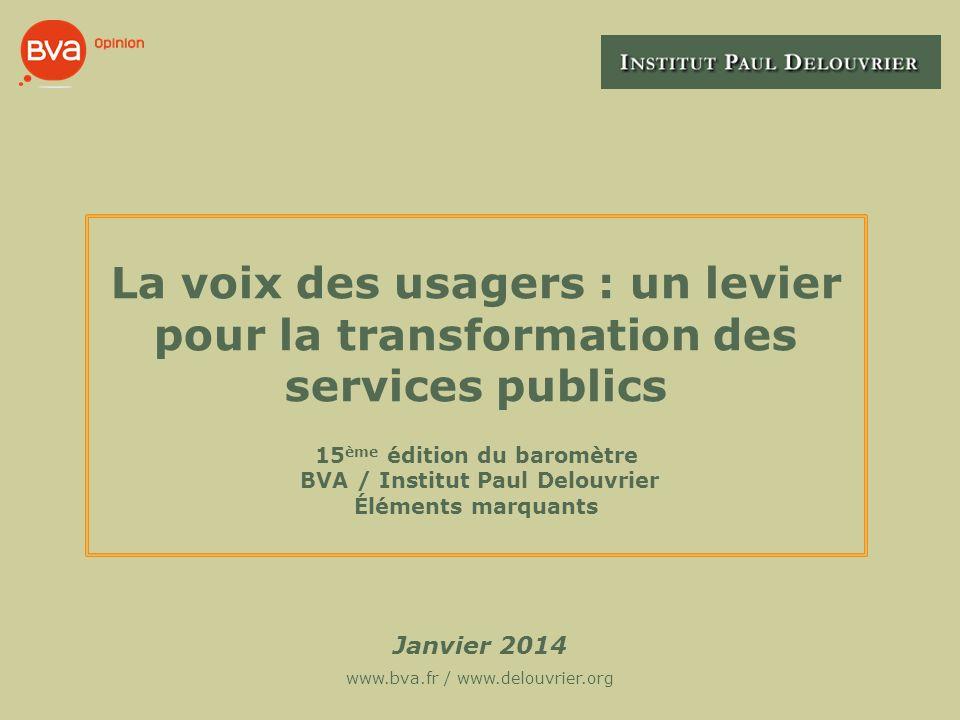 La voix des usagers : un levier pour la transformation des services publics 15 ème édition du baromètre BVA / Institut Paul Delouvrier Éléments marqua