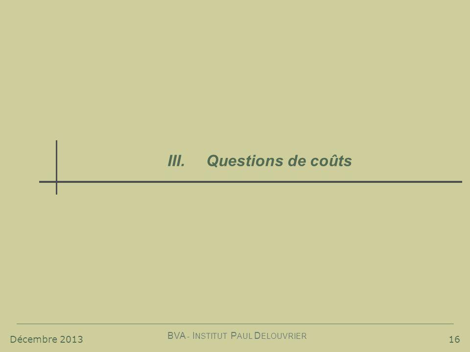 Décembre 2013 BVA - I NSTITUT P AUL D ELOUVRIER 16 III. Questions de coûts
