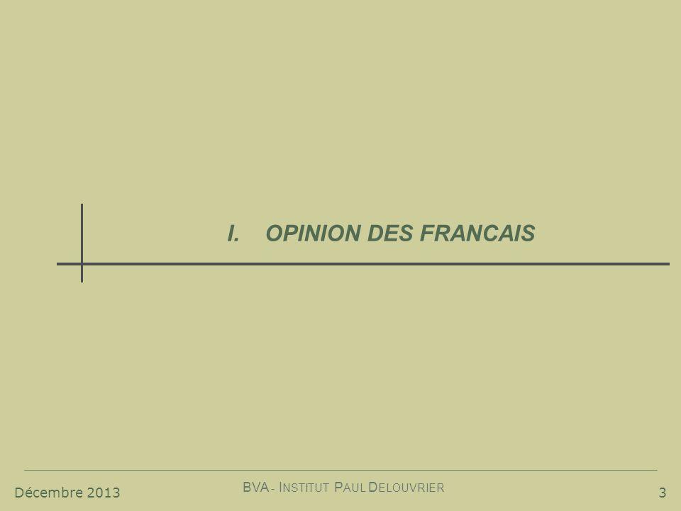 Décembre 2013 BVA - I NSTITUT P AUL D ELOUVRIER 3 I.OPINION DES FRANCAIS