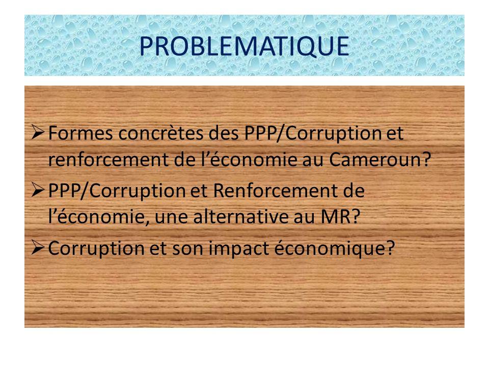 PROBLEMATIQUE Formes concrètes des PPP/Corruption et renforcement de léconomie au Cameroun? PPP/Corruption et Renforcement de léconomie, une alternati