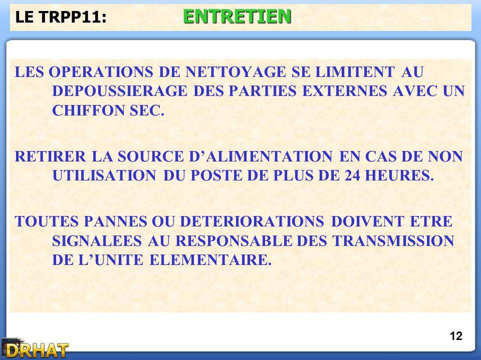 LES OPERATIONS DE NETTOYAGE SE LIMITENT AU DEPOUSSIERAGE DES PARTIES EXTERNES AVEC UN CHIFFON SEC.