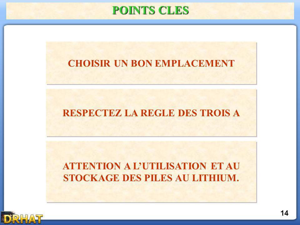 POINTS CLES CHOISIR UN BON EMPLACEMENT 14 RESPECTEZ LA REGLE DES TROIS A ATTENTION A LUTILISATION ET AU STOCKAGE DES PILES AU LITHIUM.
