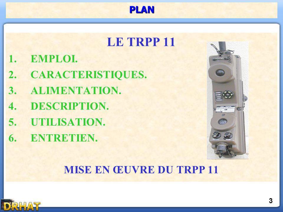 LE TRPP 11 1.EMPLOI. 2.CARACTERISTIQUES. 3.ALIMENTATION. 4.DESCRIPTION. 5.UTILISATION. 6.ENTRETIEN. MISE EN ŒUVRE DU TRPP 11 PLAN 3