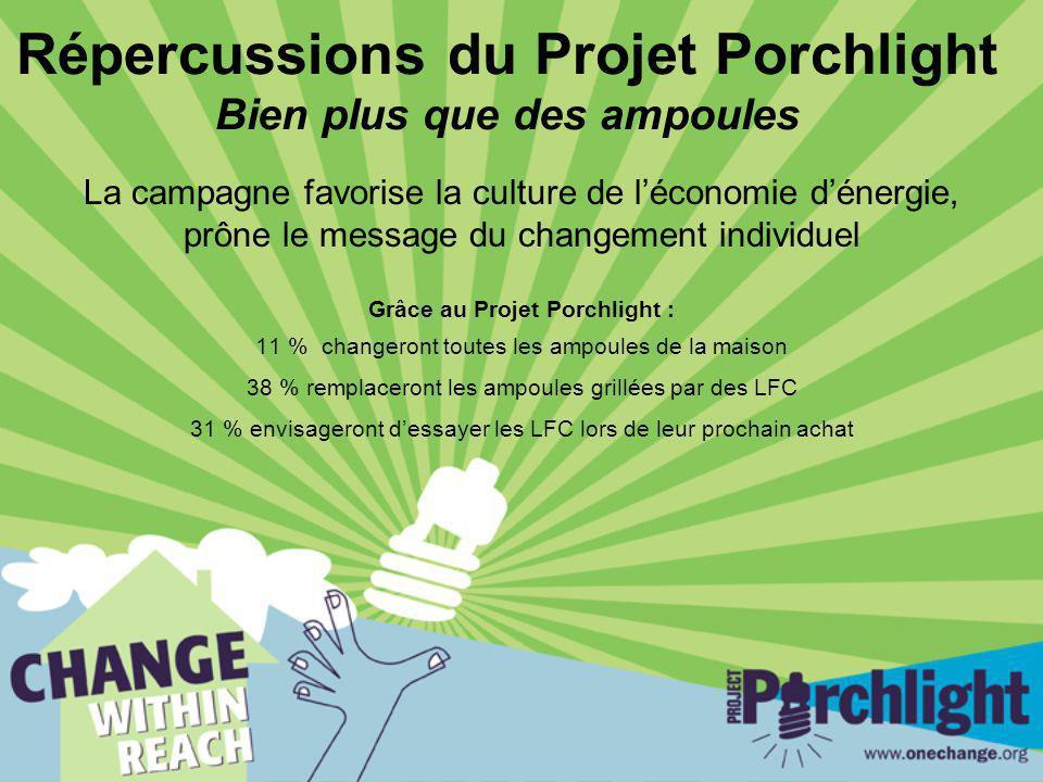 Répercussions du Projet Porchlight Bien plus que des ampoules La campagne favorise la culture de léconomie dénergie, prône le message du changement in