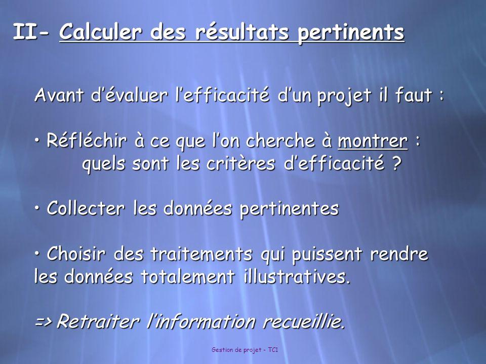 Gestion de projet - TC1 II- Calculer des résultats pertinents Avant dévaluer lefficacité dun projet il faut : Réfléchir à ce que lon cherche à montrer