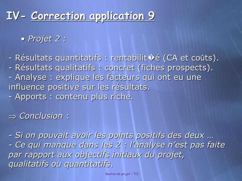 Gestion de projet - TC1 IV- Correction application 9 Projet 2 : Projet 2 : - Résultats quantitatifs : rentabilit é (CA et co û ts). - Résultats qualit