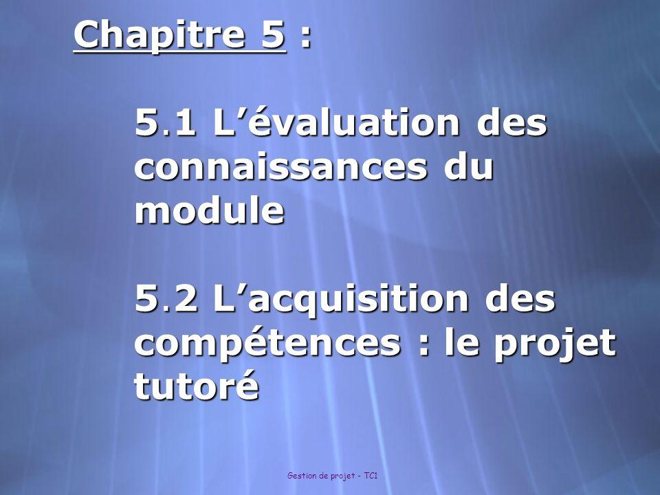 Gestion de projet - TC1 Chapitre 5 : 5.1 Lévaluation des connaissances du module 5.2 Lacquisition des compétences : le projet tutoré