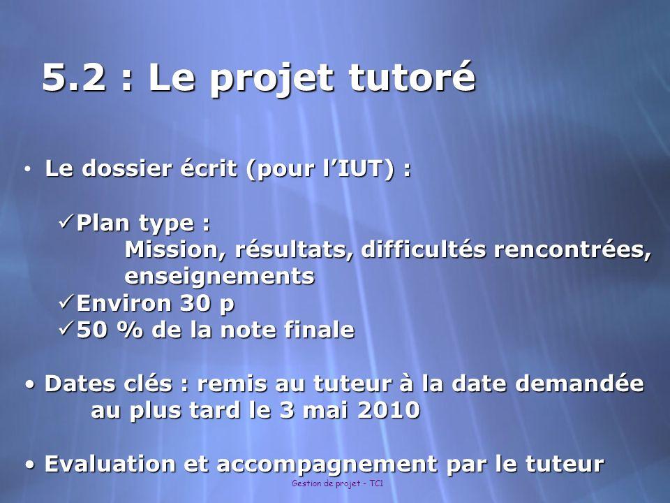 Gestion de projet - TC1 5.2 : Le projet tutoré Le dossier écrit (pour lIUT) : Le dossier écrit (pour lIUT) : Plan type : Plan type : Mission, résultat