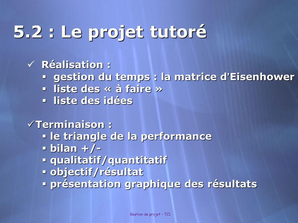 Gestion de projet - TC1 5.2 : Le projet tutoré Réalisation : Réalisation : gestion du temps : la matrice d Eisenhower gestion du temps : la matrice d