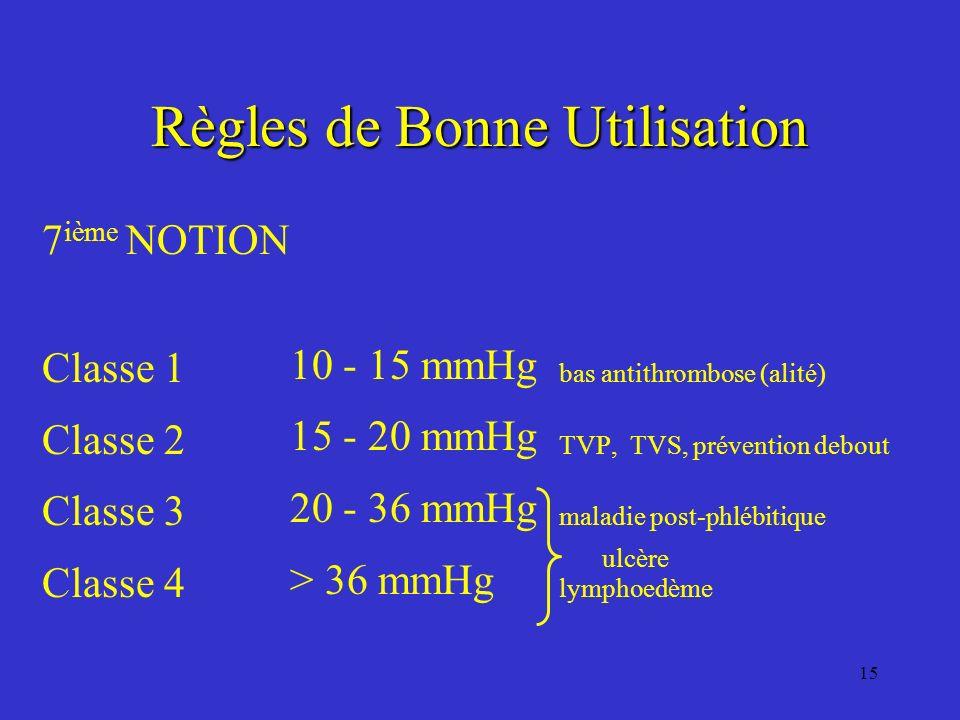 15 Règles de Bonne Utilisation 7 ième NOTION Classe 1 bas antithrombose (alité) Classe 2 TVP, TVS, prévention debout Classe 3 maladie post-phlébitique