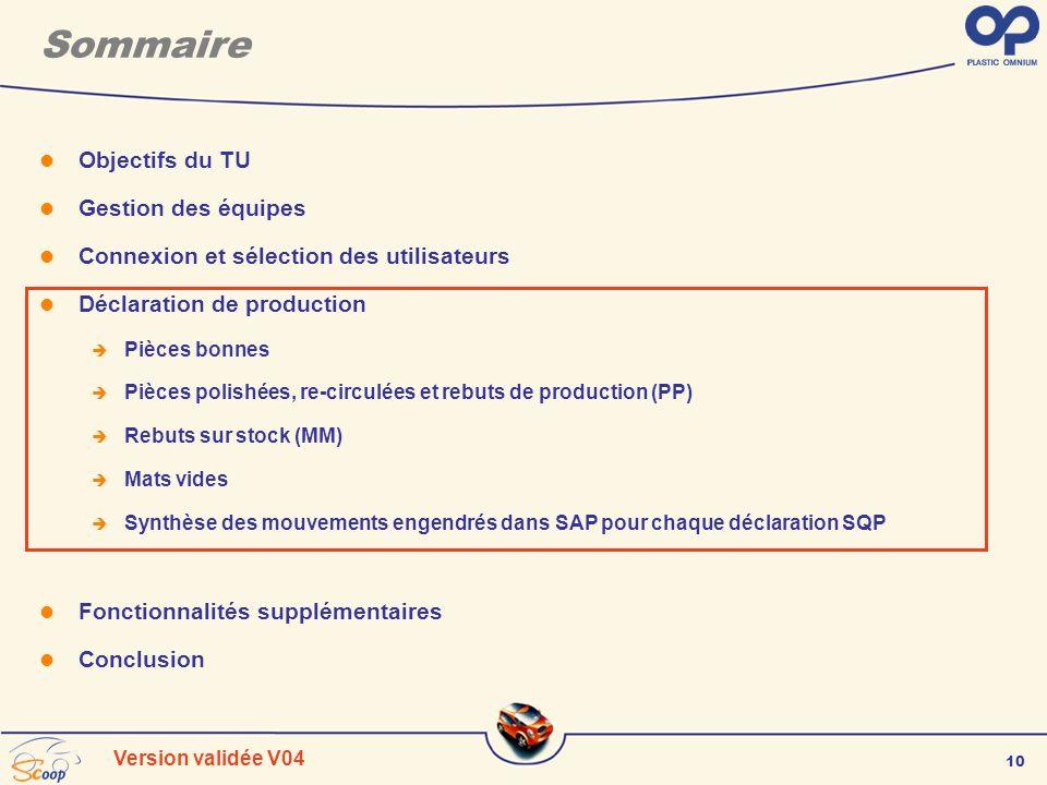 10 Version validée V04 Sommaire Objectifs du TU Gestion des équipes Connexion et sélection des utilisateurs Déclaration de production Pièces bonnes Pi