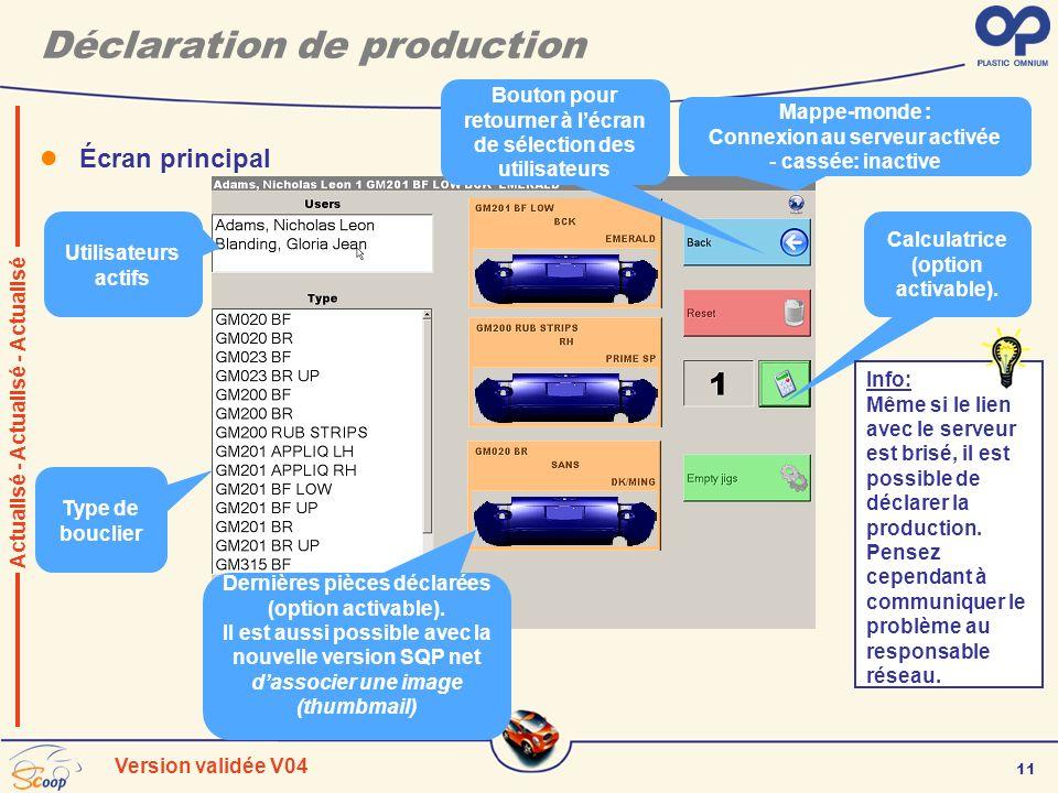 11 Version validée V04 Déclaration de production Écran principal Utilisateurs actifs Bouton pour retourner à lécran de sélection des utilisateurs Calc