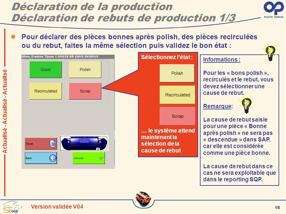 16 Version validée V04 Déclaration de la production Déclaration de rebuts de production 1/3 Pour déclarer des pièces bonnes après polish, des pièces r