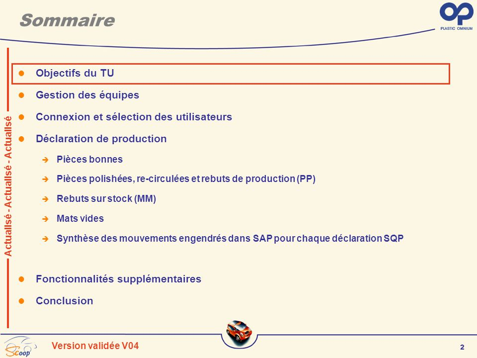 2 Version validée V04 Sommaire Objectifs du TU Gestion des équipes Connexion et sélection des utilisateurs Déclaration de production Pièces bonnes Piè