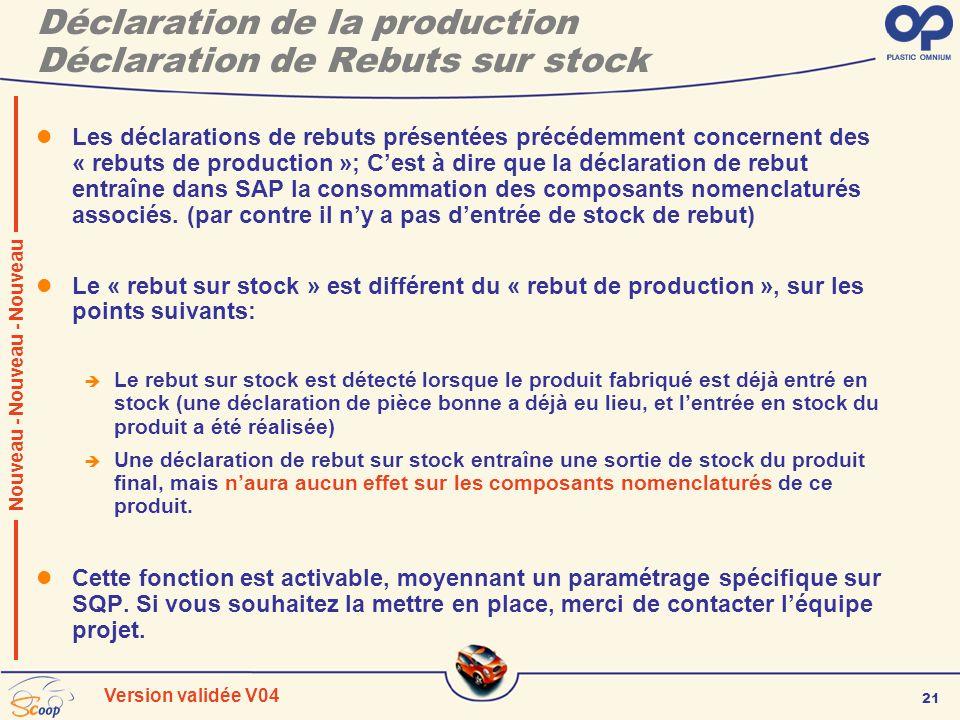 21 Version validée V04 Déclaration de la production Déclaration de Rebuts sur stock Les déclarations de rebuts présentées précédemment concernent des