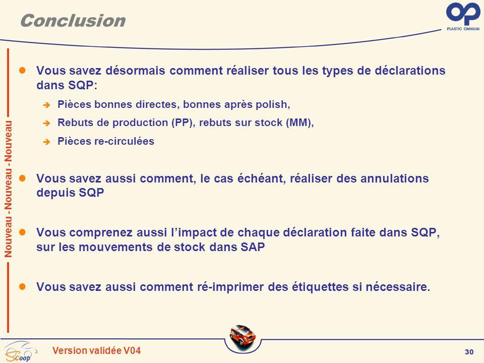 30 Version validée V04 Conclusion Vous savez désormais comment réaliser tous les types de déclarations dans SQP: Pièces bonnes directes, bonnes après