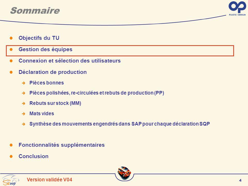 4 Version validée V04 Sommaire Objectifs du TU Gestion des équipes Connexion et sélection des utilisateurs Déclaration de production Pièces bonnes Piè