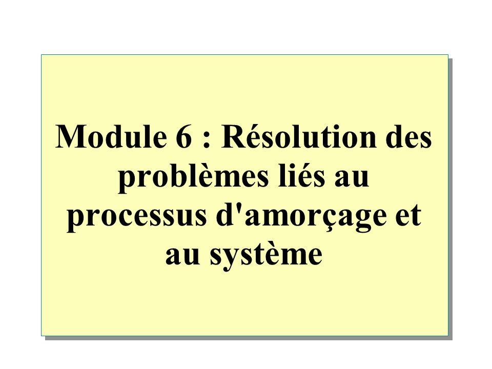 Module 6 : Résolution des problèmes liés au processus d'amorçage et au système