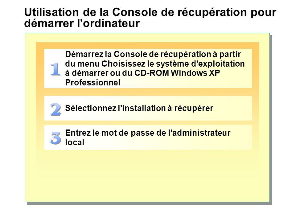 Utilisation de la Console de récupération pour démarrer l'ordinateur Démarrez la Console de récupération à partir du menu Choisissez le système d'expl