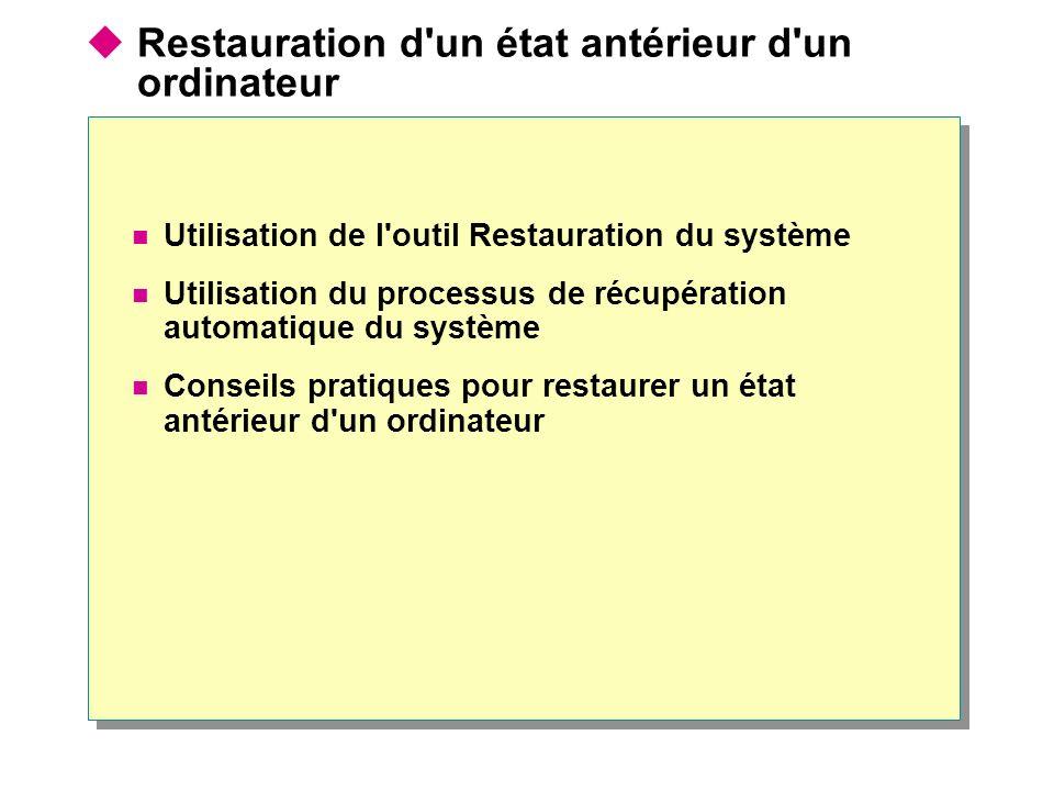 Restauration d'un état antérieur d'un ordinateur Utilisation de l'outil Restauration du système Utilisation du processus de récupération automatique d
