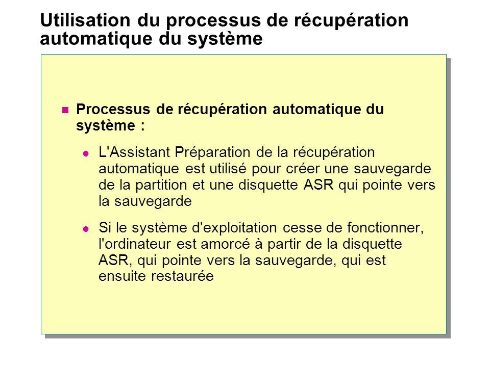 Utilisation du processus de récupération automatique du système Processus de récupération automatique du système : L'Assistant Préparation de la récup