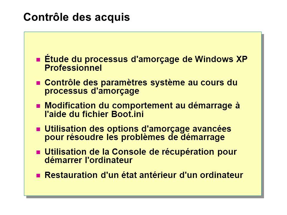 Contrôle des acquis Étude du processus d'amorçage de Windows XP Professionnel Contrôle des paramètres système au cours du processus d'amorçage Modific