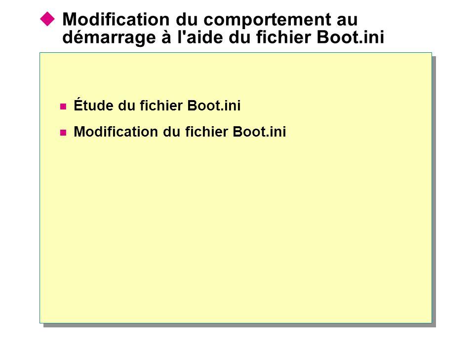 Modification du comportement au démarrage à l'aide du fichier Boot.ini Étude du fichier Boot.ini Modification du fichier Boot.ini