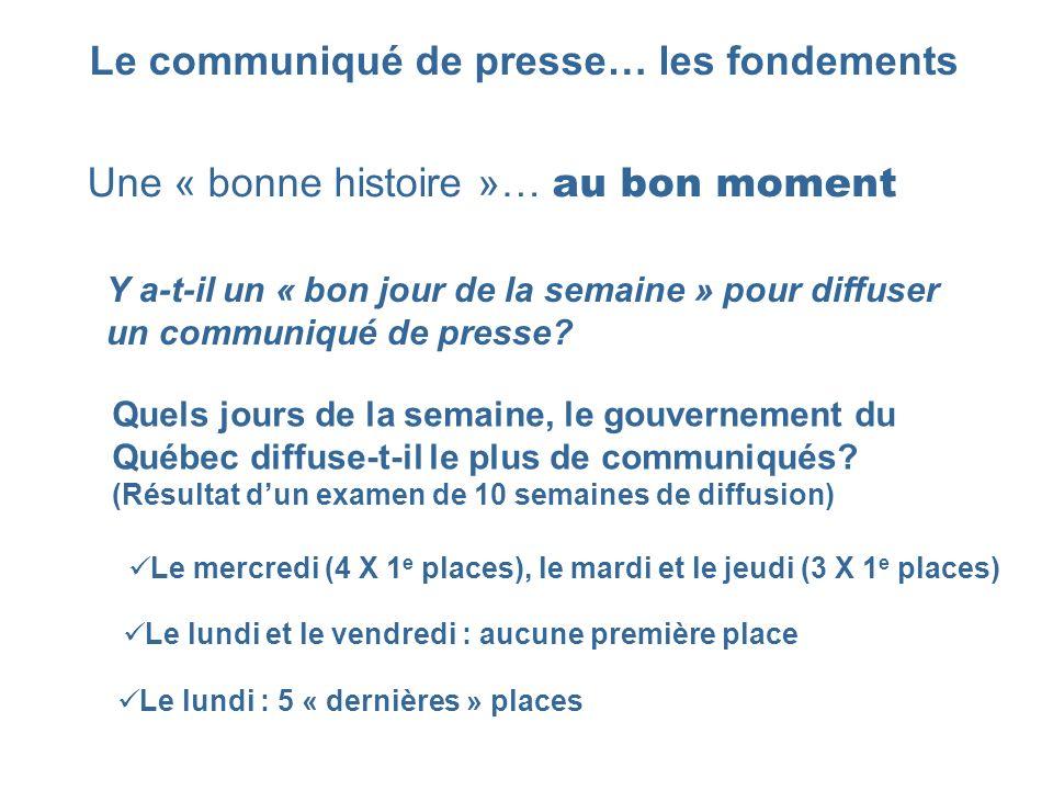Le communiqué de presse… les fondements Une « bonne histoire »… au bon moment Y a-t-il un « bon jour de la semaine » pour diffuser un communiqué de pr
